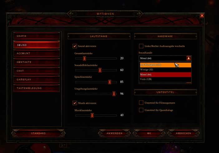 Diablo3 Einstellungen