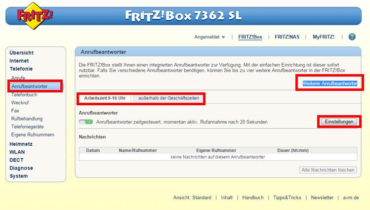 fritzbox 7362 7490 mehr sl erstellen sie zwei verschiedene anrufbeantworter ansagen f r. Black Bedroom Furniture Sets. Home Design Ideas